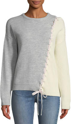 Tabula Rasa Dantie Crewneck Long-Sleeve Lace-Up Bicolor Merino Wool Sweater