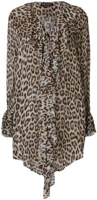Twin-Set leopard print long-sleeve blouse
