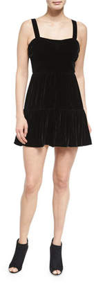 McQ Alexander McQueen Sleeveless Smocked Velour Dress, Black $495 thestylecure.com