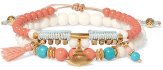 Chan Luu - Set Of Two Gold-tone, Turquoise And Bone Bracelets - Coral $80 thestylecure.com