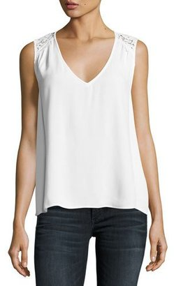 Joie Pearl Sleeveless Lace-Trim Crepe Top, White $168 thestylecure.com