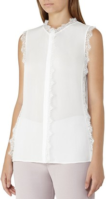 REISS Jean Lace-Trimmed Silk Top $240 thestylecure.com