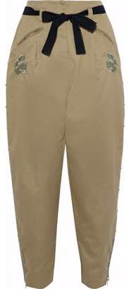 Markus Lupfer Embroidered Cotton-Twill Tapered Pants