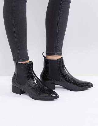 Monki Croc Pointed Chelsea Ankle Boot