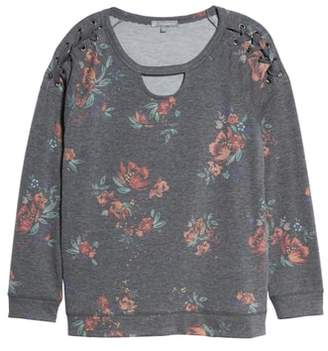 Wit & Wisdom Lace Up Detail Floral Sweatshirt