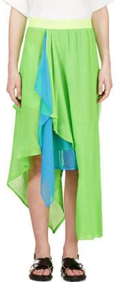 Yohji Yamamoto Green Draped Asymmetrical Hybrid Skirt