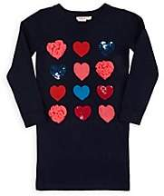 Billieblush Kids' Heart-Pattern Sweaterdress-Blue
