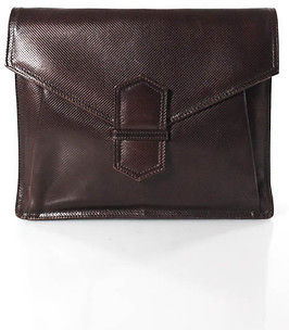 Bottega VenetaBottega Veneta Dark Brown Embossed Leather Fold Over Envelope Clutch