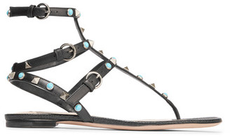 Valentino - Rockstud Leather Sandals - Black $1,145 thestylecure.com