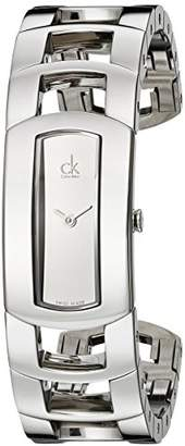 Calvin Klein Women's Quartz Watch with White Dial Analogue Display and Silver Stainless Steel Bracelet K3Y2S118