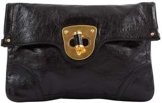 Alexander McQueen Black Leather Clutch Bag