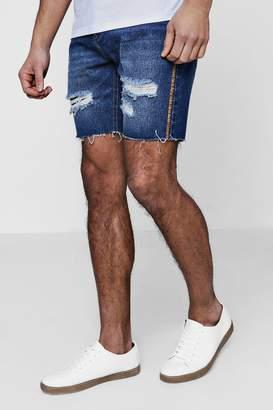 boohoo Slim Fit Raw Edge Denim Shorts With Festival Piping
