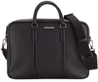 Ermenegildo Zegna Men's Leather Briefcase with Pelle Tessuta ID Tag