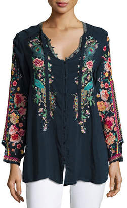 Johnny Was Plus Size Peacock Embroidered Georgette Top