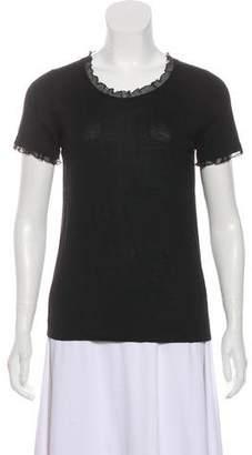 Armani Collezioni Pleated Short Sleeve Top