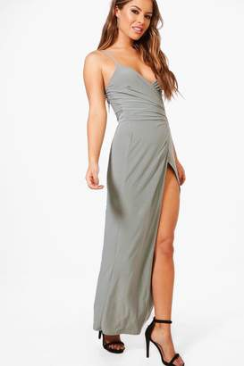 boohoo Petite Wrap Strappy Maxi Dress