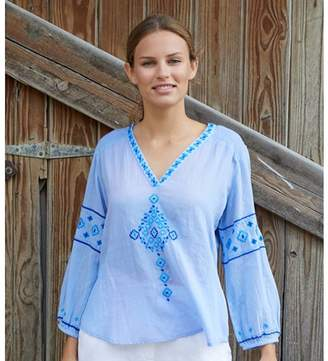 Aspiga Meenu Embroidered Cotton Blouse Sky Blue