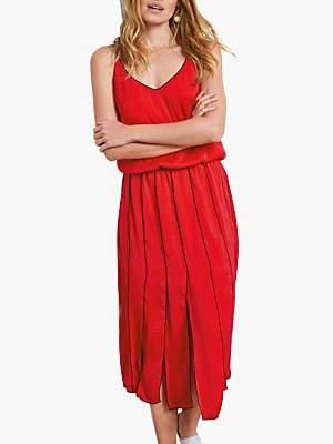 Hush Pleat Panel Dress, Red
