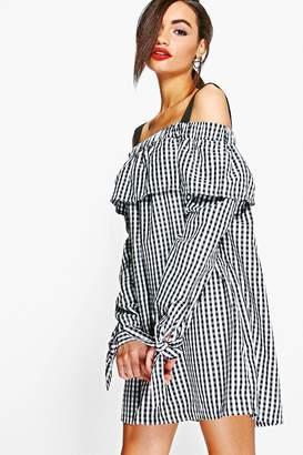 boohoo Julia Gingham Off Shoulder Tie Smock Dress $35 thestylecure.com