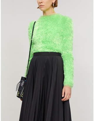 Balenciaga Round-neck faux-fur jumper