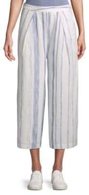J.o.a. Striped Cotton Wide-Leg Pants