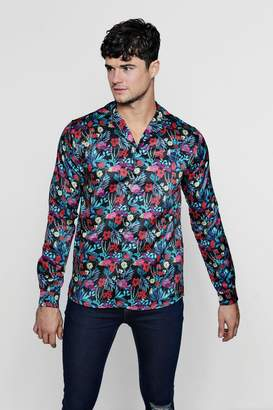boohoo Multi Floral Print Long Sleeve Satin Shirt