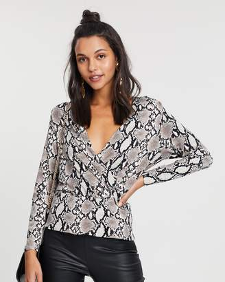 Dorothy Perkins Snake Print Wrap Front Top