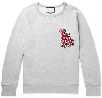 Gucci + Los Angeles Angels Appliquéd Mélange Loopback Cotton-jersey Sweatshirt