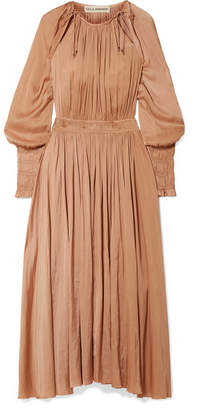 Ulla Johnson Adonia Smocked Sateen Maxi Dress - Beige