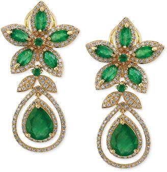 Effy Brasilica by Emerald (5-1/4 ct. t.w.) and Diamond (1-1/4 ct. t.w.) Teardrop Earrings in 14k Gold, Created for Macy's