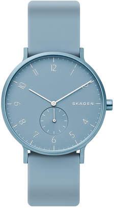 Skagen Unisex Aaren Aluminum Light Blue Silicone Strap Watch 41mm