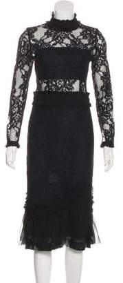 Alexis Ruffle Trimmed-Lace Dress