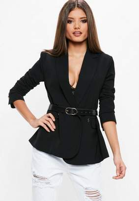 Missguided Black Longline Double Breasted Blazer