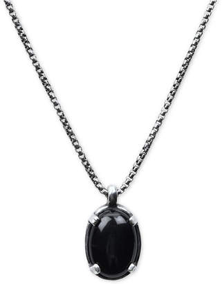 "Degs & Sal Men's Black Onyx (20 x 32mm) 24"" Pendant Necklace in Sterling Silver (Also in Manufactured Turquoise)"