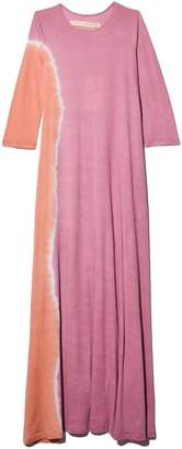 Raquel Allegra Signature Jersey Half Sleeve Drama Maxi Dress in Pink Sunrise Tie Dye