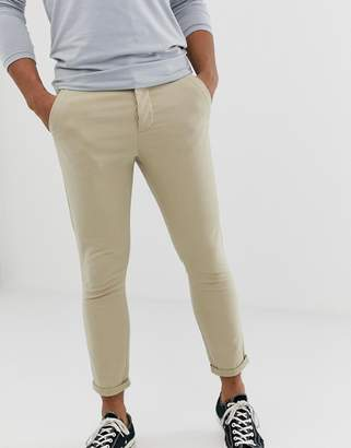 Asos Design DESIGN super skinny cropped chinos in putty
