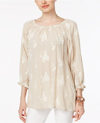 Chelsea and Theodore Embroidered Peasant Blouse $78 thestylecure.com
