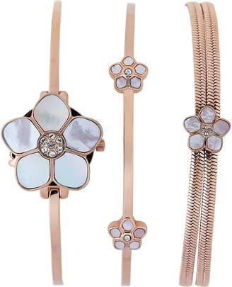 Anne Klein AK 3174 Rose Gold-Tone Floral Watch & Bracelet Set