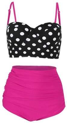 8a9f643090a Kimloog Women s High Waist Polka Dot Bikini Set Two Piece Beach Bathing  Suits Straps Adjustable Swimwear