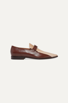 Dries Van Noten Smooth And Snake-effect Leather Loafers - Beige