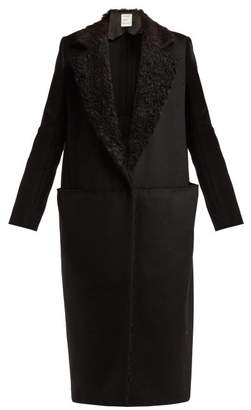 Maison Rabih Kayrouz Faux Shearling Lapel Felt Coat - Womens - Black