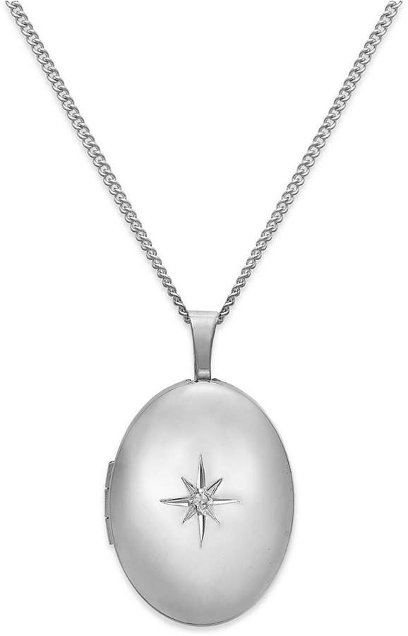 Macy's Diamond Accent Starburst Oval Locket Necklace in Sterling Silver