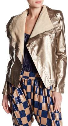 TOV Faux Leather Contrast Jacket