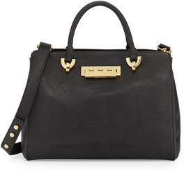 Zac Posen Eartha Saffiano Leather Barrel Satchel Bag, Black
