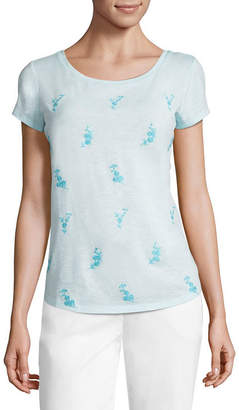 Liz Claiborne Short Sleeve Crew Neck Embroidered T-Shirt-Womens