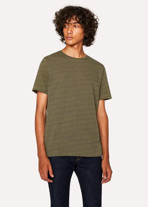 Paul Smith Men's Ochre And Petrol Blue Flecked Cotton T-Shirt