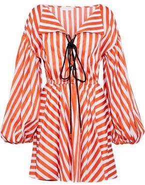 Caroline Constas Olympia Lace-up Striped Cotton-poplin Mini Dress