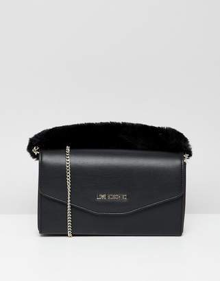 Love Moschino Clutch with Faux Fur Strap
