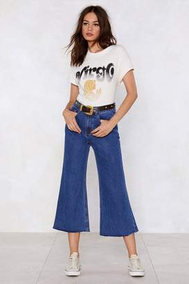 Nasty Gal Cropped in Your Tracks Wide-Leg Jeans