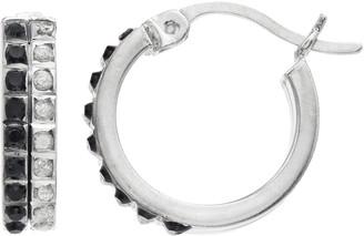 Mystique Platinum Over Silver Black & White Diamond Hoop Earrings